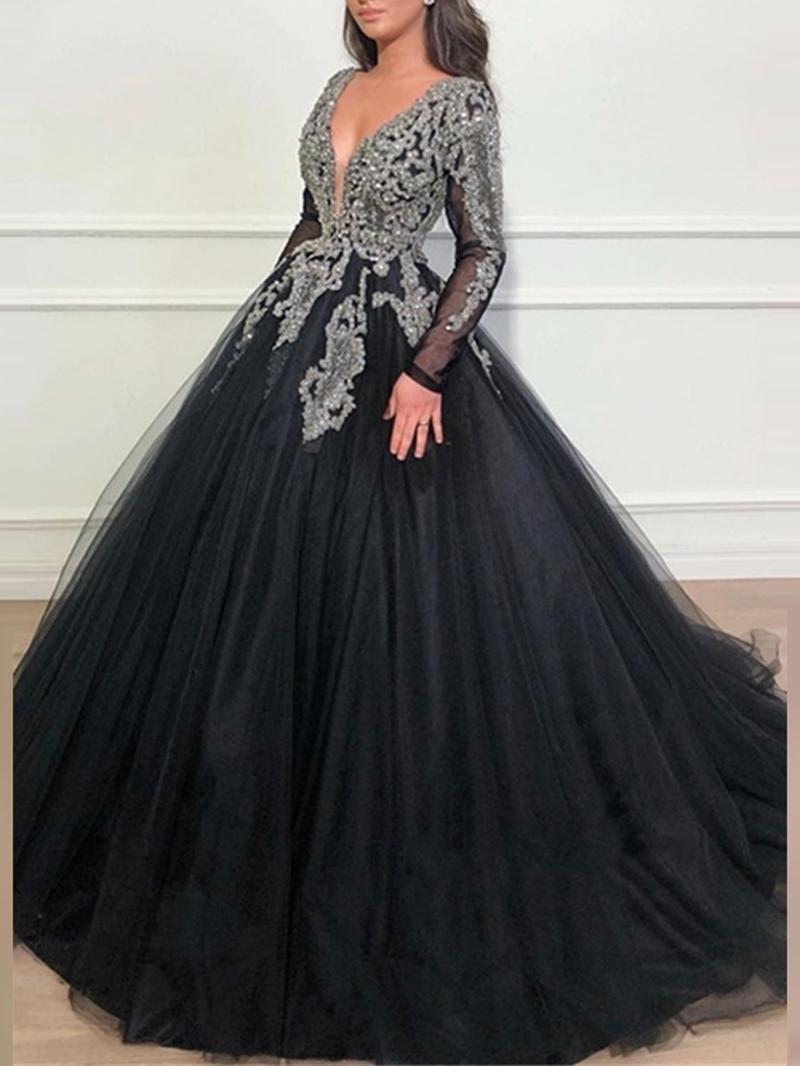Ericdress Long Sleeves Ball Gown Beading Evening Dress