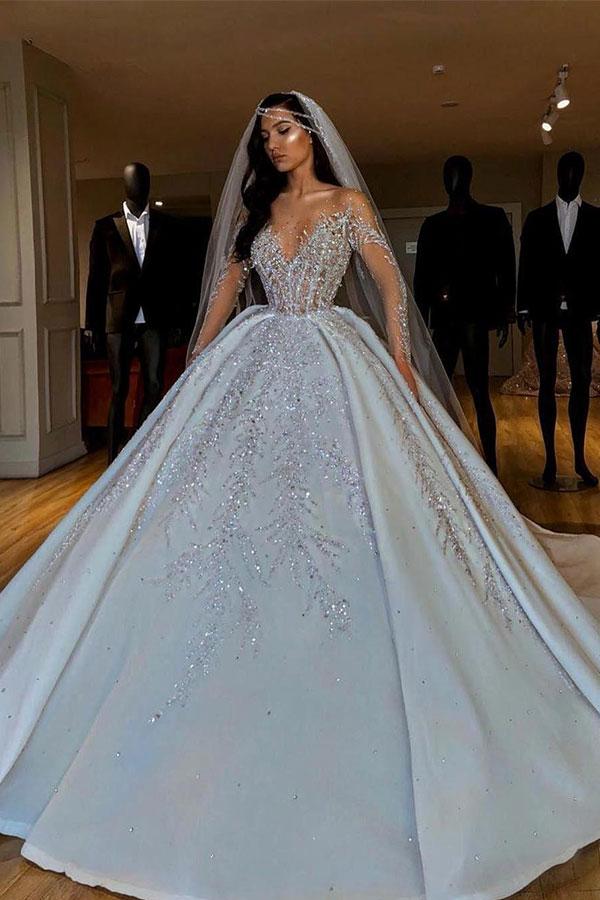 Sparkle Diamond Mangas largas Vestido de fiesta de lujo Vestidos de novia