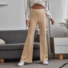 Solid Flared Leg Ribbed Pants