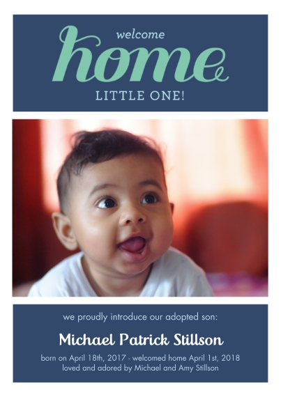 Adoption Announcements Flat Matte Photo Paper Cards with Envelopes, 5x7, Card & Stationery -Welcome Home Adoption Boy
