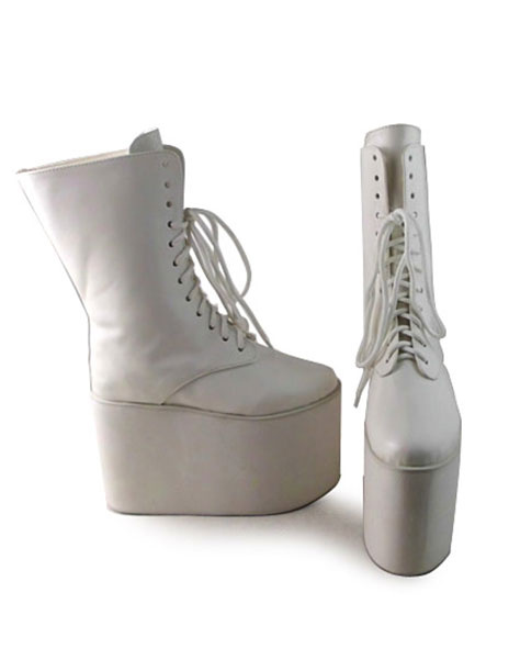 Milanoo Matte White Lolita Boots High Platform