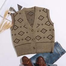 Pulloverweste mit Geo Muster und Knopfen vorn