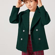 Boys Double Breasted Pocket Front Coat