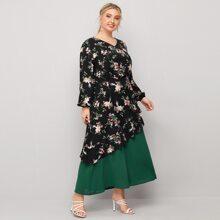 Plus Floral Print Contrast Panel A-line Dress
