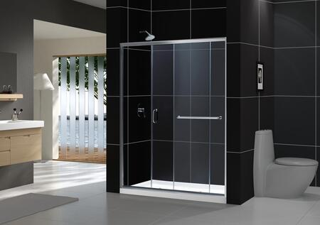 DL-6973R-04FR Infinity-Z 36 In. D X 60 In. W X 74 3/4 In. H Frosted Sliding Shower Door In Brushed Nickel And Right Drain White