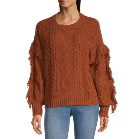 a.n.a Womens Crew Neck Long Sleeve Pullover Sweater, X-large , Brown