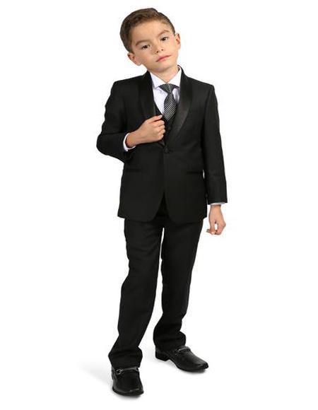 Mens Boys Shawl Lapel Single Breasted Black Tuxedo Set