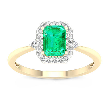 Womens 1/6 CT. T.W. Lab Created Green Emerald 10K Gold Engagement Ring, 8 , No Color Family