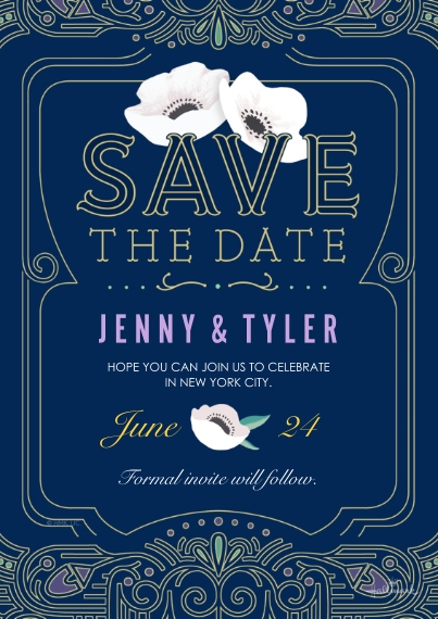 Save the Date 5x7 Cards, Premium Cardstock 120lb, Card & Stationery -Sophisticated Deco Save the Date