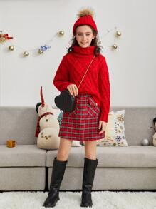 Girls Christmas Funnel Neck Cable Knit Sweater
