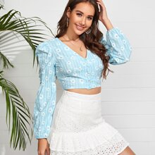 Daisy Floral Puff Sleeve Crop Blouse