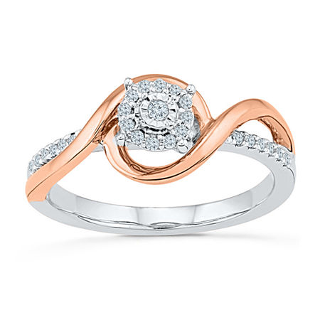 Promise My Love Womens 1/6 CT. T.W. Genuine White Diamond 10K Gold Over Silver Promise Ring, 4 , No Color Family