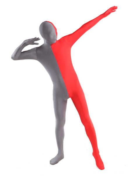 Milanoo Morph Suit Red and Grey Lycra Spandex Zentai Suit Unisex Full Body Suit
