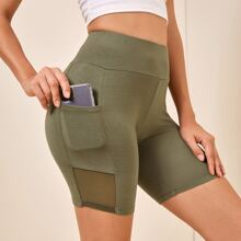 Wide Waistband Pocket Side Mesh Insert Biker Shorts