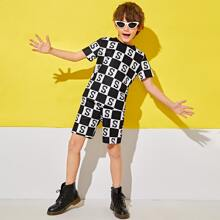 Boys Letter Graphic & Plaid Top And Shorts Set