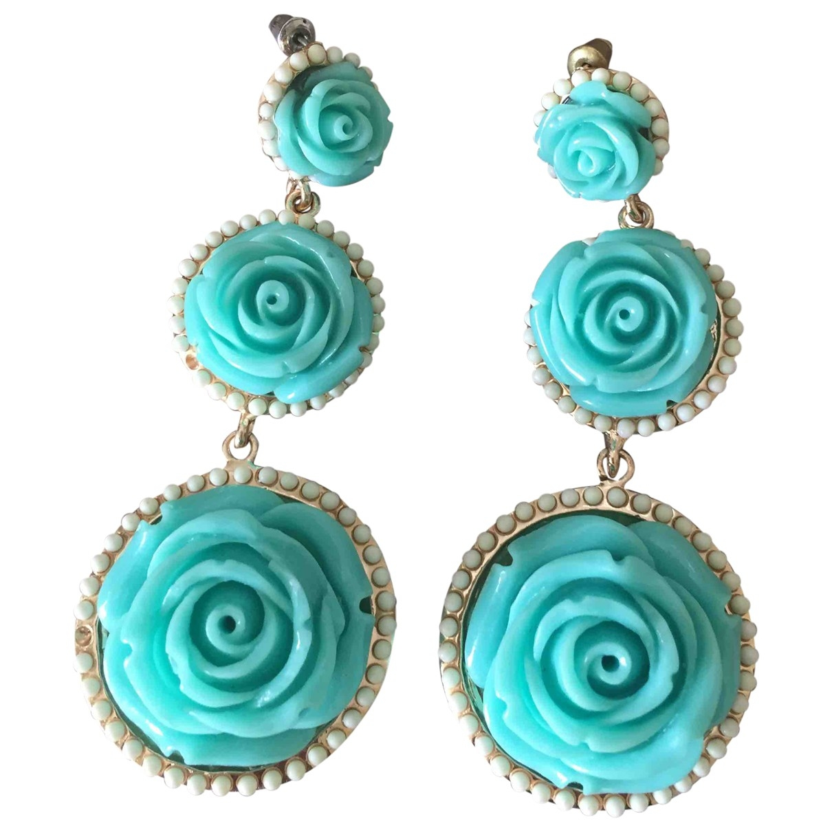 Non Signé / Unsigned \N Turquoise Metal Earrings for Women \N