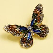 Rhinestone Decor Butterfly Brooch