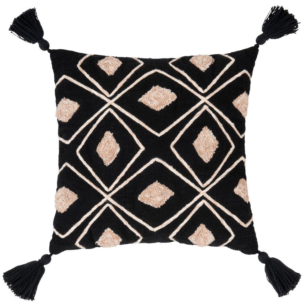 Kissenbezug aus Baumwolle, schwarz, mit beigen Stickmotiven 40x40