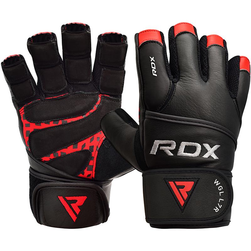 RDX L7 Crown Gants de Musculation Grande Rouge Cuir