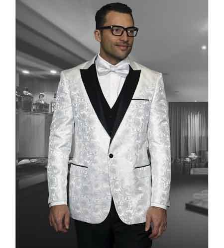 Floral White Mens Shiny Satin Tuxedo Dinner Jacket