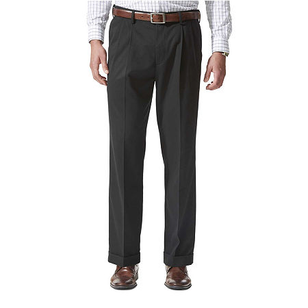 Dockers Men's Relaxed Fit Comfort Khaki Cuffed Pants - Pleated D4, 34 34, Black