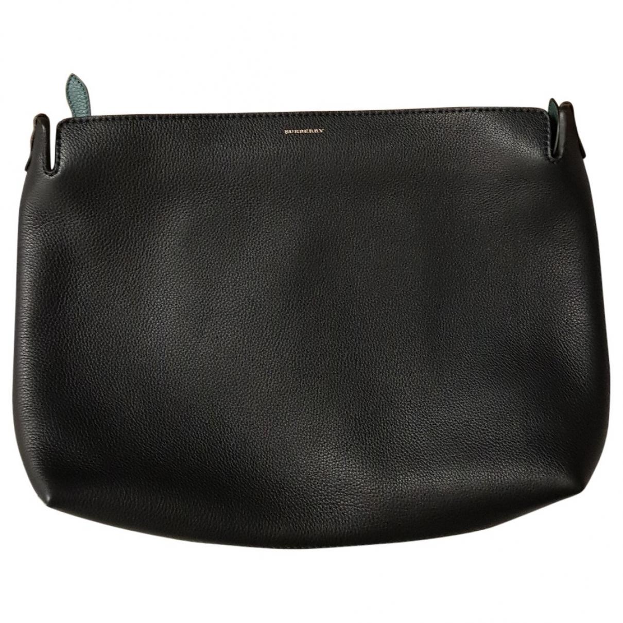 Burberry - Pochette   pour femme en cuir - noir