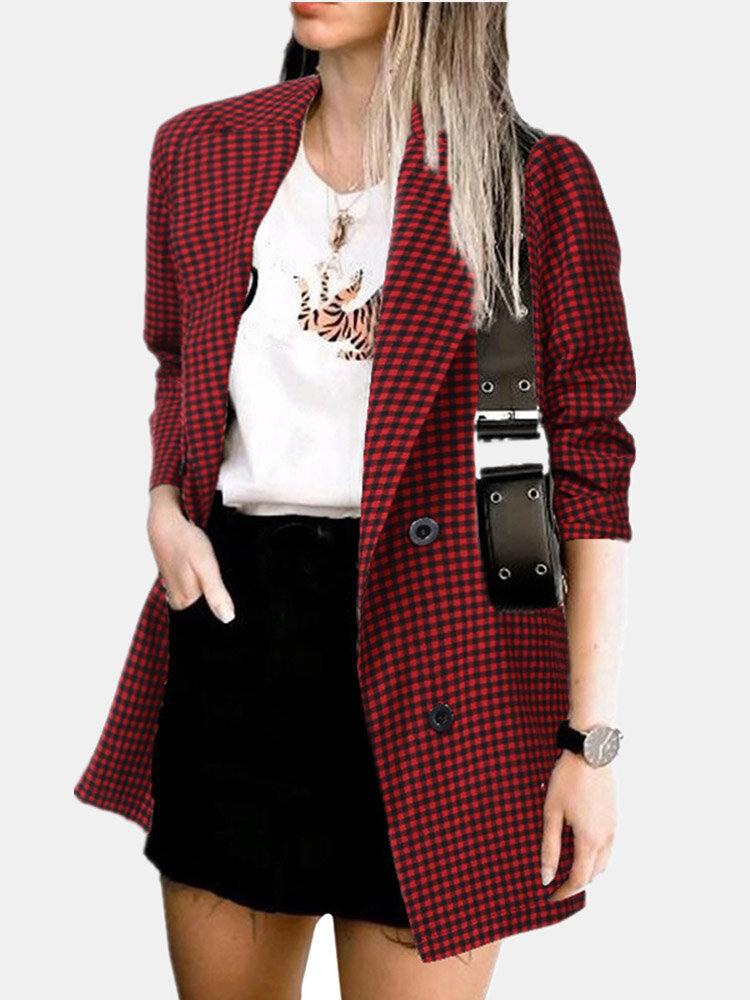 Lapel Long Sleeve Cotton Linen Plaid Jacket With Pockets