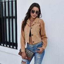 Cord Jacke mit Taschen Flicken und Knopfen