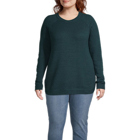St. John's Bay-Plus Womens Round Neck Long Sleeve Pullover Sweater, 0x , Green