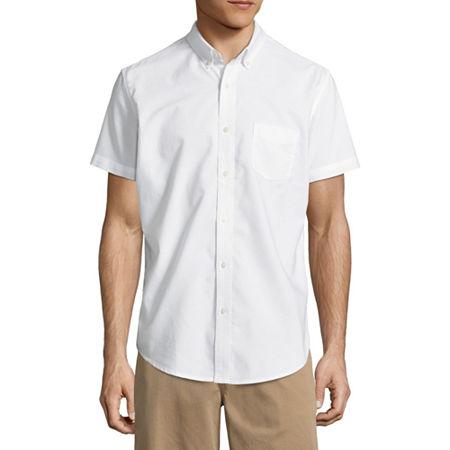 Arizona Mens Short Sleeve Button-Down Shirt, X-small , White