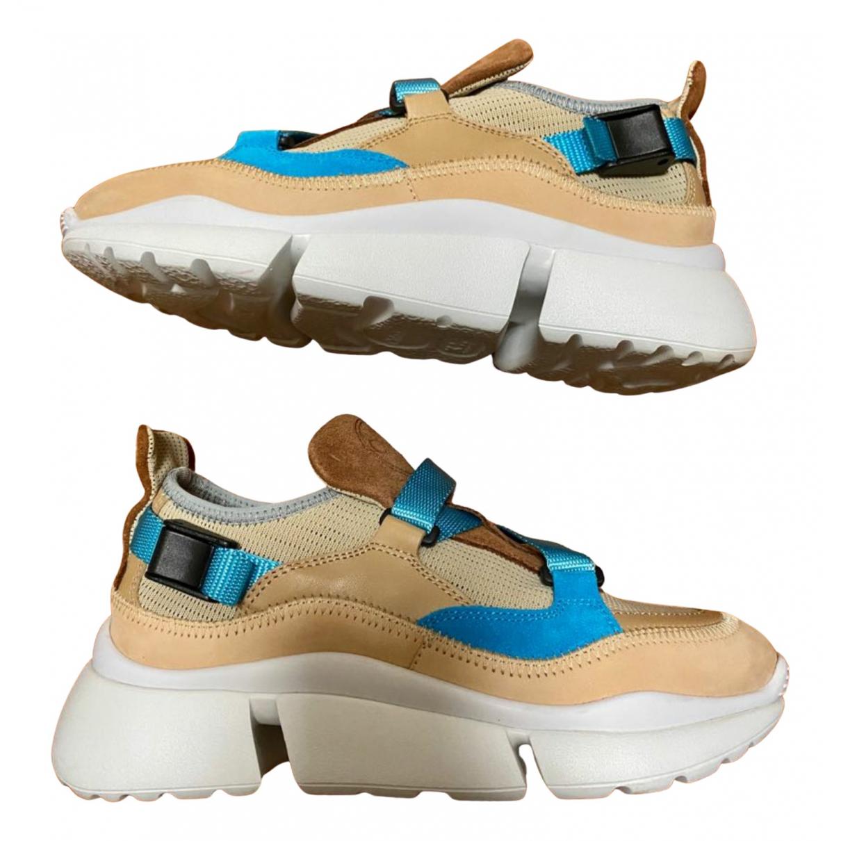 Chloe Sonnie Sneakers in  Blau Leinen