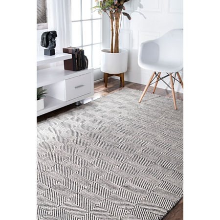 nuLoom Hand Woven Ago Rug, One Size , White
