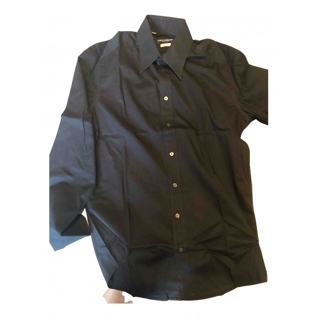 Dolce & Gabbana N Black Cotton Shirts for Men 41 EU (tour de cou / collar)