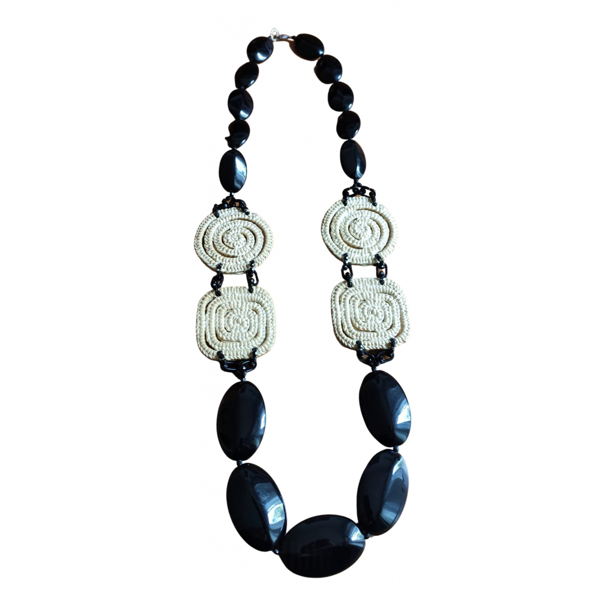 Non Signé / Unsigned N Black Long necklace for Women N