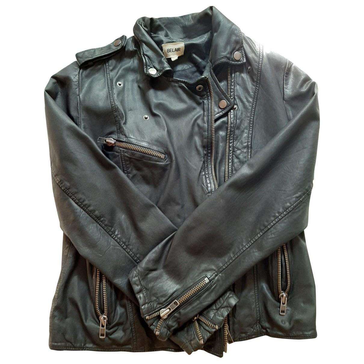 Bel Air - Blouson   pour femme en cuir - noir