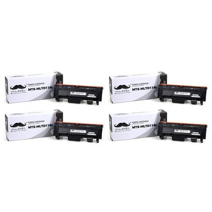 Compatible Samsung MLT-D118L Black Toner Cartridge High Yield - Moustache - 4/Pack