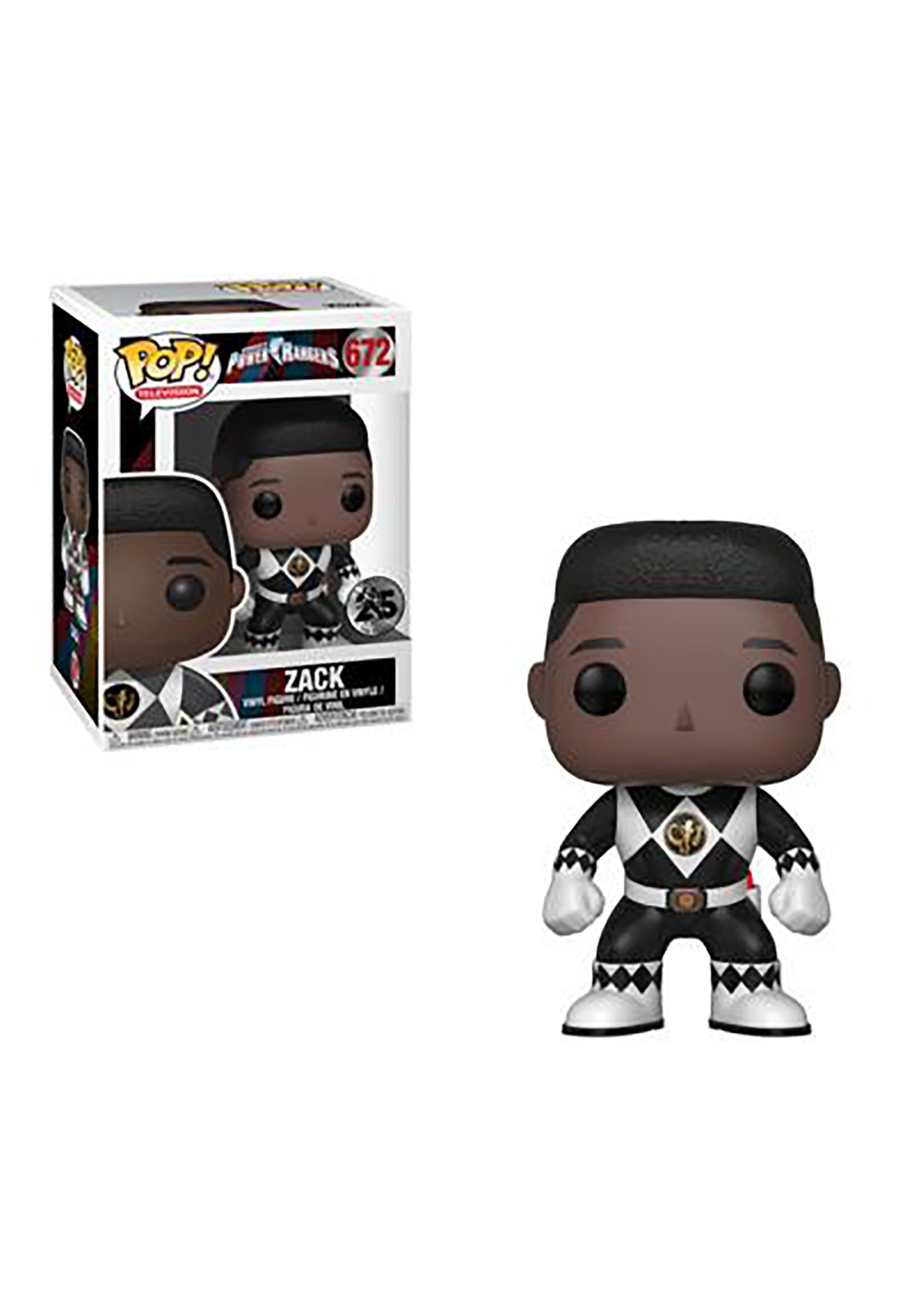 Pop! TV: Power Rangers- Black Ranger Zack (No Helmet) Vinyl Figure