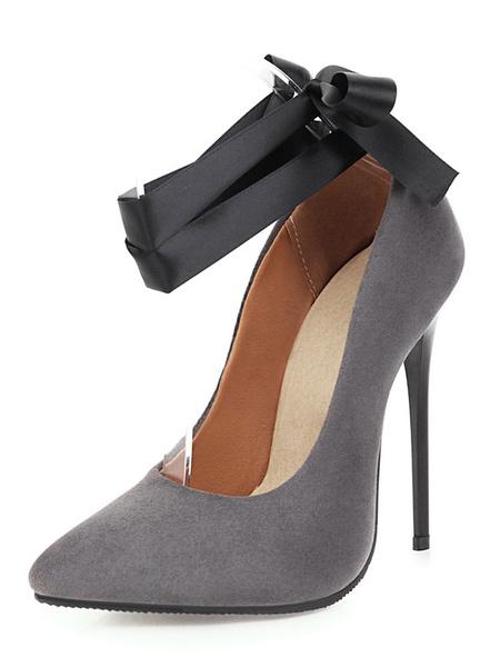 Milanoo Zapatos de tacon alto con correa de tobillo Bombas con punta puntiaguda Tacon de aguja Zapatos de talla grande