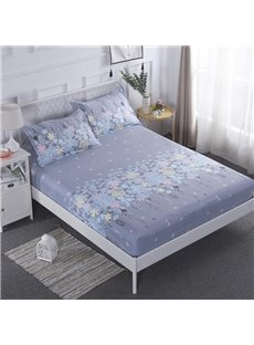 Floral Pattern Printed Grey Waterproof Breathable Fitted Sheet
