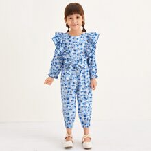 Toddler Girls Floral Print Ruffle Trim Belted Jumpsuit