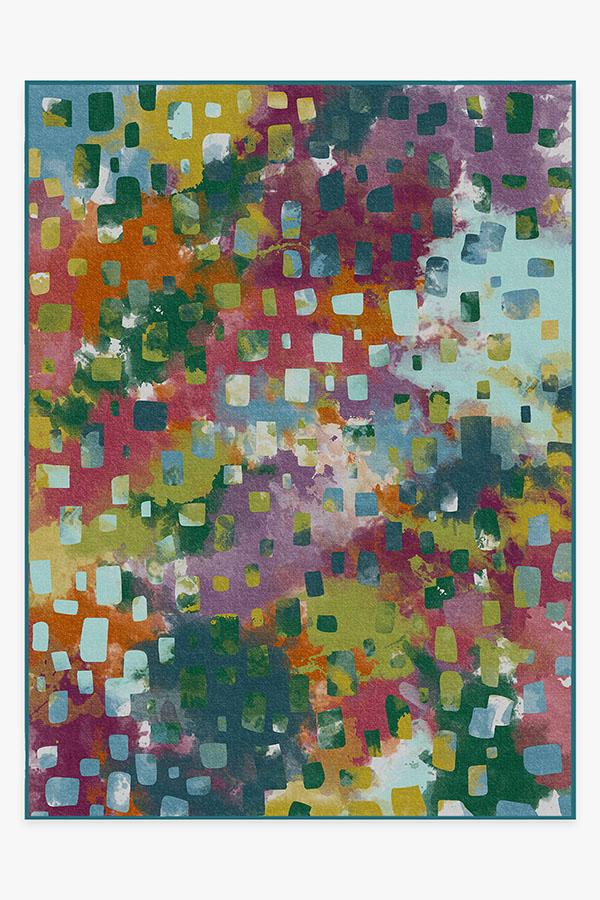 Washable Rug Cover   Watercolor Paintwork Multicolor Rug   Stain-Resistant   Ruggable   9'x12'