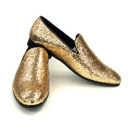 Amali Barnes Smoker Slip Ons In Gold