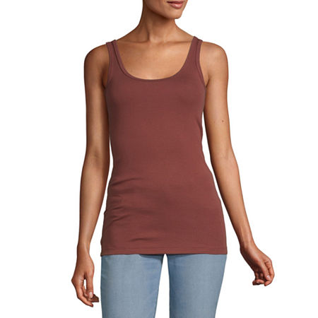 a.n.a Womens Scoop Neck Sleeveless Tank Top, Large , Red