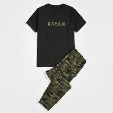 Guys Letter Graphic Top & Camo Sweatpants Set