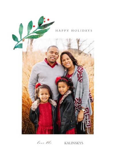 Holiday Photo Cards 5x7 Cards, Standard Cardstock 85lb, Card & Stationery -Holly Branch
