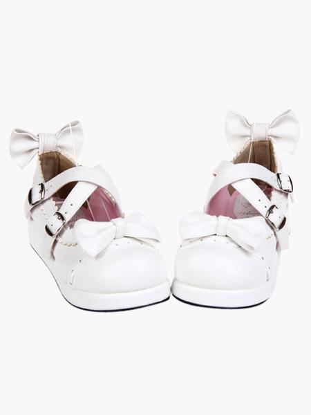 Milanoo Zapatos Lolita Dulce Blancos Platform Lazo con Trim