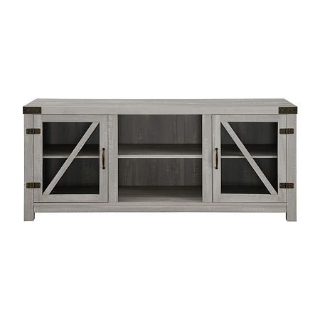 Farmhouse Glass Door Accented TV Stand, One Size , Gray