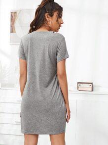 V-Neck Twist Hem Heather Gray Tee Dress