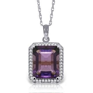 5.8 Carat 14K Solid Gold Isabella Amethyst Diamond Gemstone Necklace (16 Inch - White)