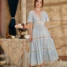 Contrast Lace Scallop Hem Night Dress